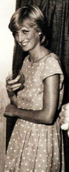 Diana, polka dot dress  Looks like my mommy in her youth, her name Diane, with the same e-ring.