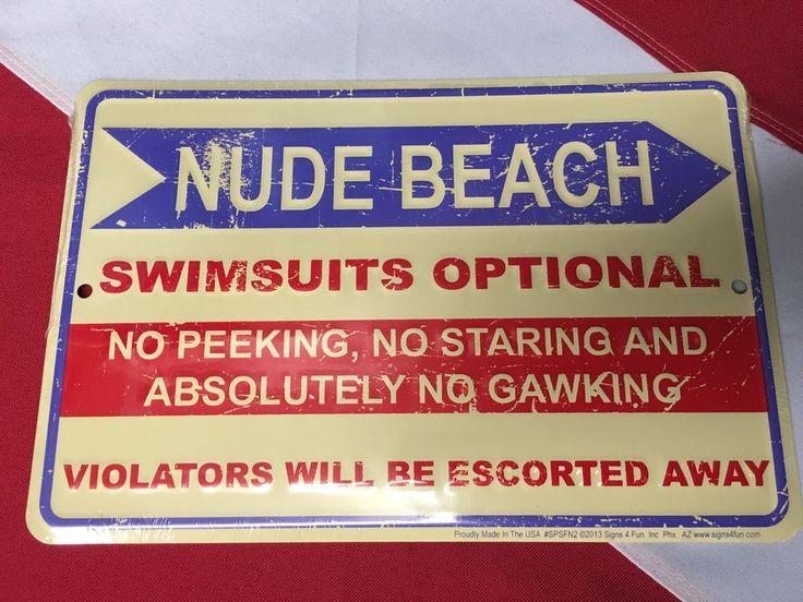 NUDE BEACH swimsuits metal sign scuba diving equipment novelty fun usa gift  #Signs4fun