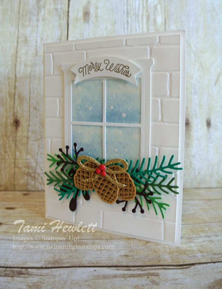 Christmas Pines Color Challenge: Dapper Denim watercolored background, Christmas Pines, Pretty Pines Thinlits, Oh, What Fun, Hearth & Home Thinlits Dies, Brick Wall TIEF, Duet Banner Punch   By Tami Hewlett