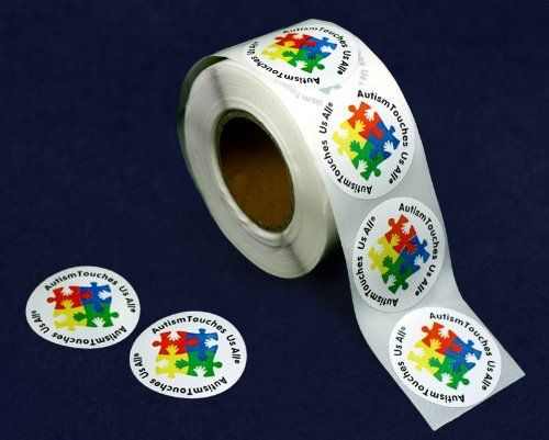 """Autism Touches Us All Stickers (500 Count) by Fundraising For A Cause. $10.00. These 1 1/2 inch white round autism stickers have the words """"Autism Touches Us All"""" with a cute design of puzzle pieces and hands. Great for putting on your donation letters, envelopes or anywhere you want to show your support for autism awareness. Packaged 500 """"Autism Touches Us All"""" stickers per roll."""
