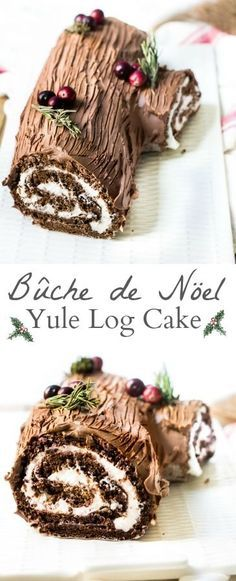 A traditional French Christmas dessert made from a chocolate sponge cake filled with whipped cream and covered in mocha frosting. The easiest way to look like a total cake boss! Recipe via http://MonPetitFour.com