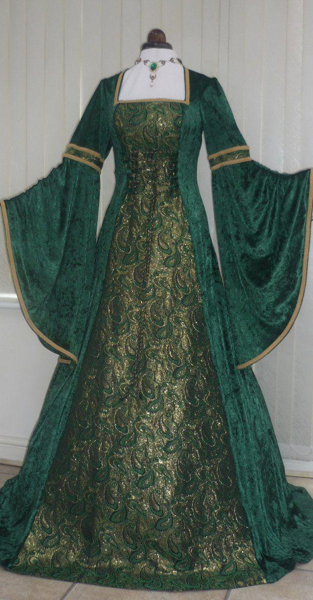 Renaissance Medieval green velvet and metallic gold brocade dres, Dawns Medieval Dresses