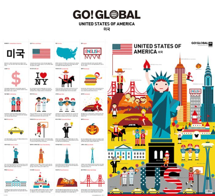 us illustration poster by korean design firm, go! global gumbook via sally j shim's blog.