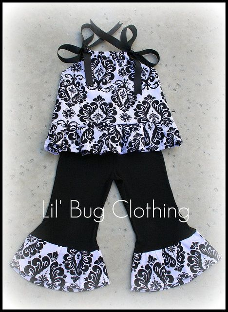 Custom Boutique Girl Clothes Black White Damask by LilBugsClothing, $35.00
