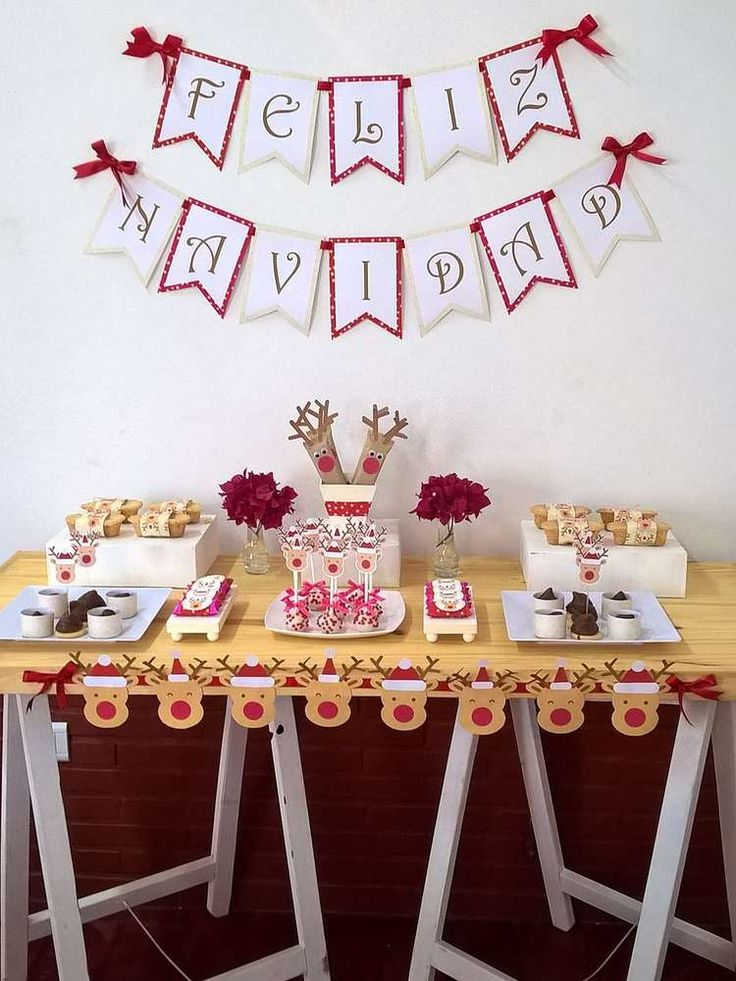 Quirky Christmas Party Ideas Part - 18: Check Out This Cool Christmas Party. Love The Rudolf Banner!! See More Party