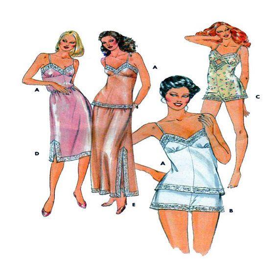 Butterick 4020, Women, Undergarments, Lingerie, Camisole, Teddy, Shorts / Tap Pant, Top, Long / Short Slip, Lace Trim, Thin Straps, Size 16