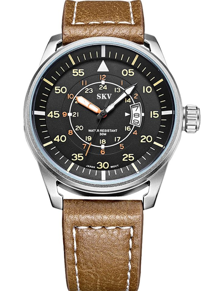 Sisistore Mens Wrist Watch with High Abrasion Proof Mirror and Leather Band Military Watch Green