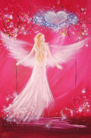 "Beperkte engel kunst foto ""kosmische love"", abstract engel schilderen, Engelbild, moderne Engel"