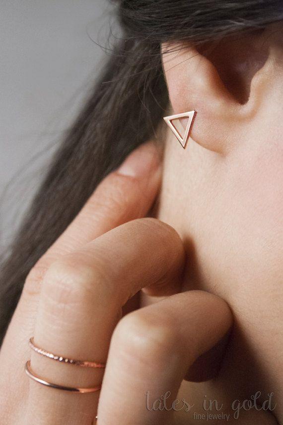 Gold Earrings, Triangle Earrings, 14 karat gold, Everyday Jewelry, Stud Earrings, Minimal Jewelry, Dainty Earrings, Geometric Earrings