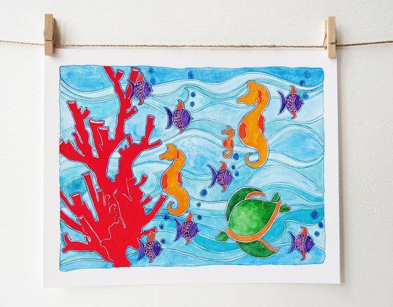 Spiaggia vivaio arte - Nursery Decor - Coral Reef arte - ragazze Camera Decor - Boys decorazione - spiaggia Baby Nursery - spiaggia Nursery Decor