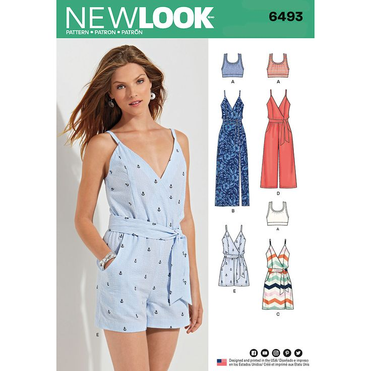 Misses Jumpsuit and Dress in Two Lengths with Bralette New Look Sewing Pattern 6493. Size 6-18.