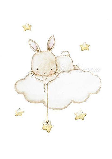 Nursery Art Bunny Fishing Stars Print Wall Clouds And Baby Aida Zamora In 2018