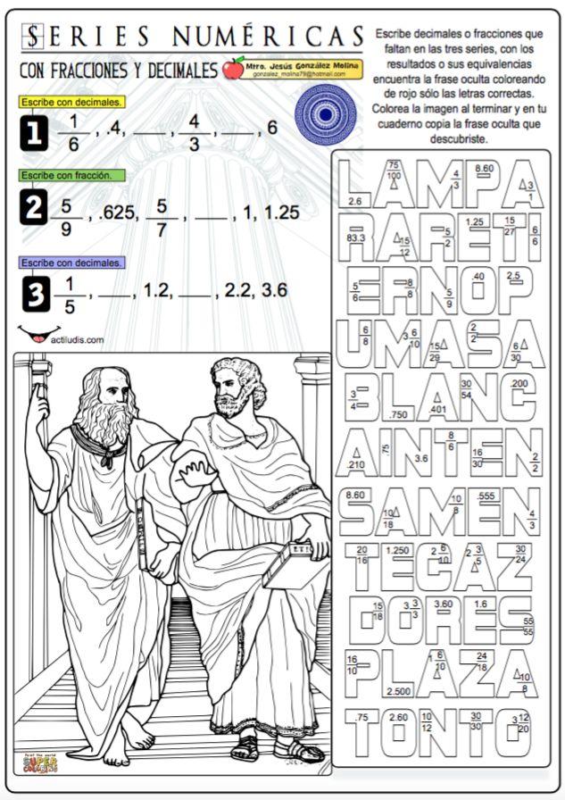 Series numéricas con fracciones y decimales