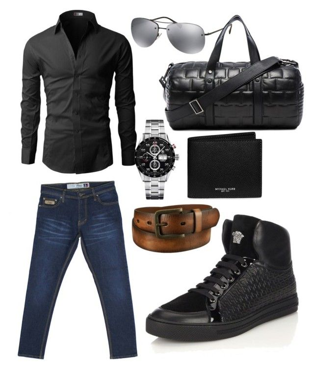 """Turquoise Denim S Series on Black"" by turquoisedenim on Polyvore featuring Uniqlo, Tag Heuer, Prada, Calvin Klein Collection, Michael Kors, Versace, mens, men, men's wear and mens wear"