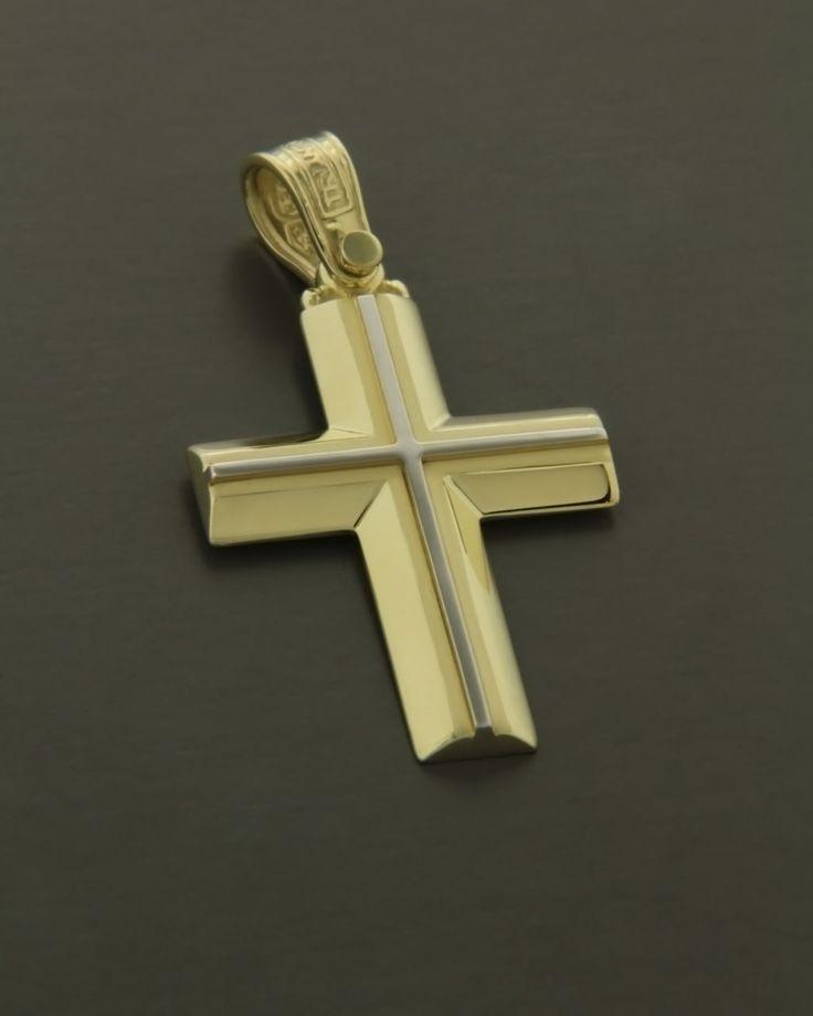 Σταυρός ''Τριάντος'' χρυσός & λευκόχρυσος Κ14