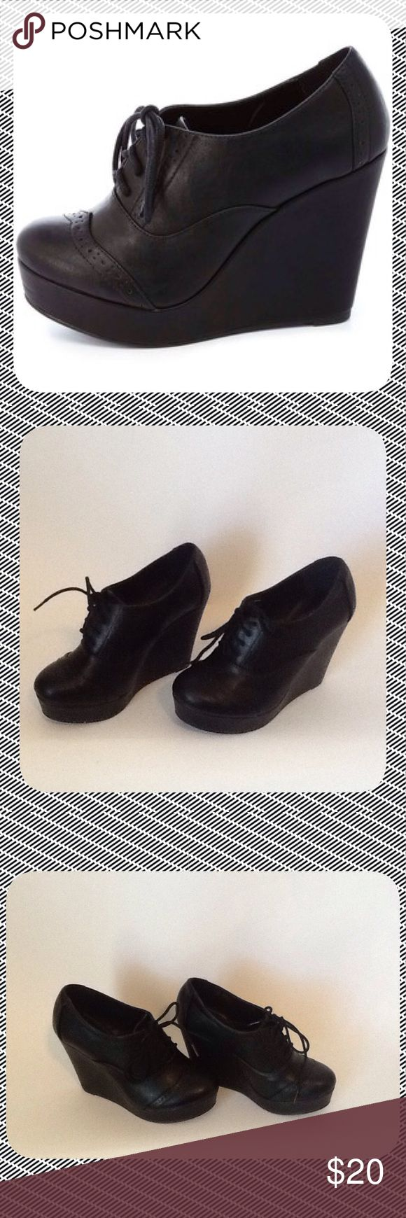 Charlotte Russe Black Oxford Wedges These shoes have Never been Worn!!! They don't come with a Box!!! Reasonable Offers Only!!! Charlotte Russe Shoes Wedges