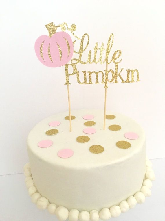 Little Pumpkin Glitter Cake Topper ~ Little Pumpkin First Birthday Pink and Gold…