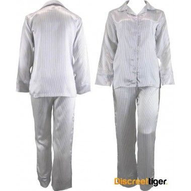 Made from premium quality material by Phialli Sleepwear. These make a great gift idea for friends and family.  Perfectly styled white with thin black pinstripes. Wide cuffs on sleeves. Luxurious, you won't want to take these off.