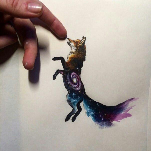 Space fox watercolor tattoo