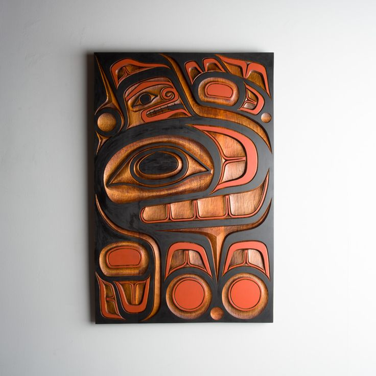 Red cedar and acrylic killer whale panel by salish artist Jim Charlie