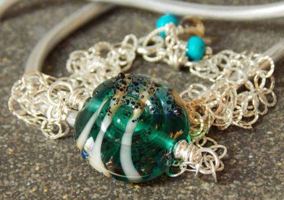 Teal Glass and Gemstone Bracelet // Summer by KreationsbyKarenNB