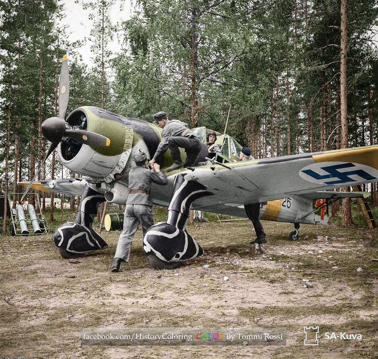 Pilot 2nd Lt. Ture Mattila of 2/LLv 30 in his Fokker D-XXI (FR-125) at Hyvinkää airfield, Finland. 14 July 1941.