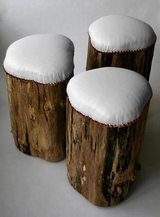 Artesanato com Reciclagem: Utilização de troncos com bancos ou banquinhos