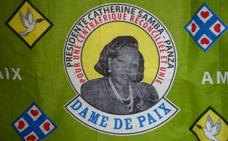 Print of Centrafricaine President Catherine Samba-Panza, 2014. Photo via http://www.lanouvellecentrafrique.info/centrafrique-la-presidente-appelle-a-la-reconciliation-inter-et-intra-centrafricaine/