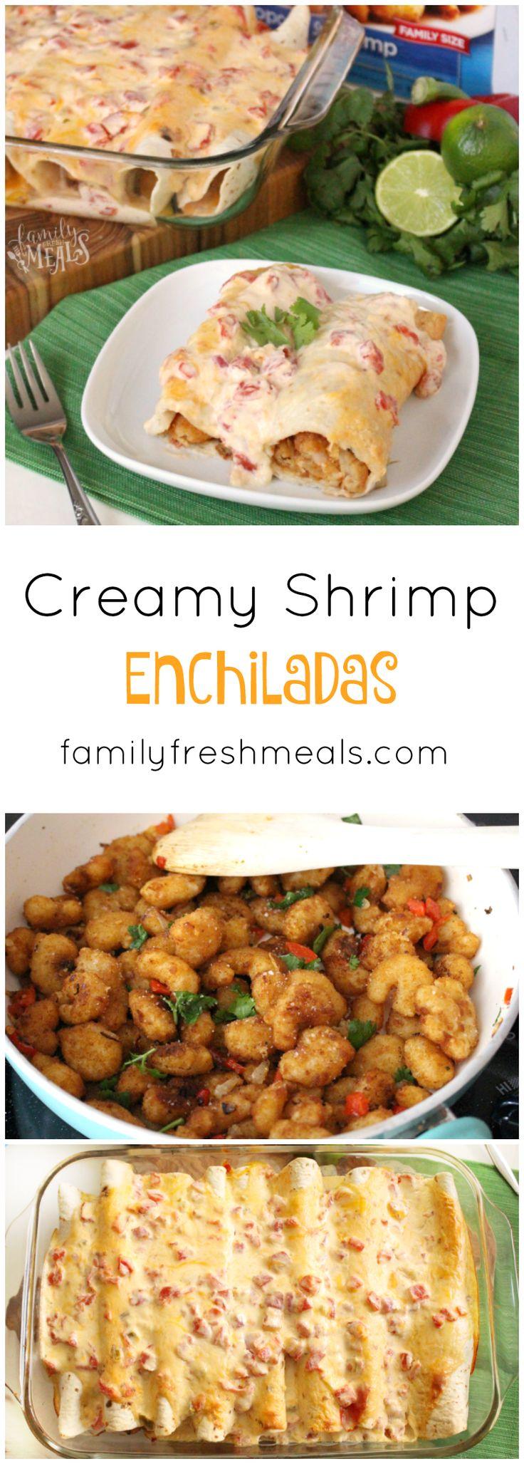 Creamy Shrimp Enchiladas recipe. SO EASY to make and my family LOVES these!