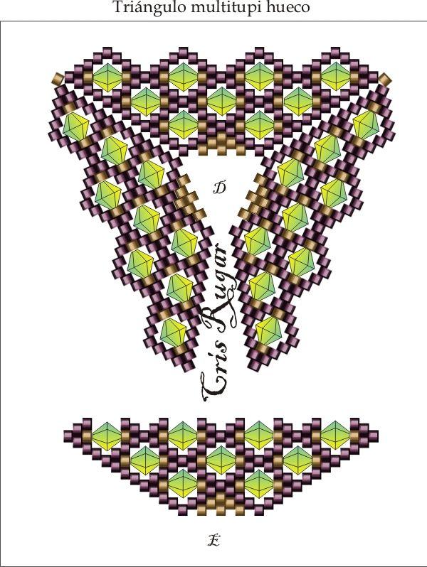 THIS IMAGE ARE USED WITH THE PERMISSION OF HER AUTHOR/ESTA IMAGEN ES UTILIZADA CON PERMISO DE SU AUTORA  Multi tupi hueco.  Unir por el interior del triangulo aumentando en cada hueco una rocalla de 15.  y en el exterior un adelica unir parte trasera, otra delica y unir parte delantera, para que quede anguloso en el canto.  Blog: http://cristinarugar.blogspot.com.es/