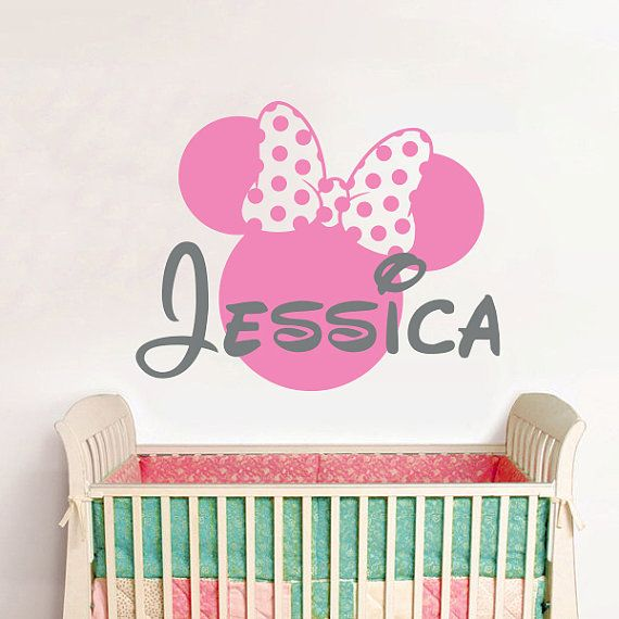 Wall Decal Vinyl Sticker Decals Home Decor Design Mural Disney Personalized Custom Baby Name Head Mice Ears Mickey Mouse Minnie Mouse
