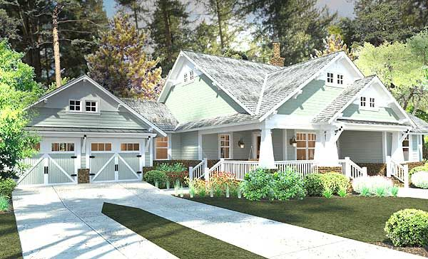 Plan W16887WG: Farmhouse, Craftsman, Country, Cottage House Plans & Home Designs Easily converted den into bedroom to make 4 bedroom!
