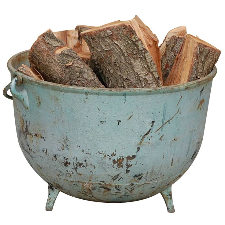 Large industrial cauldron / firewood holder | From a unique collection of antique and modern fireplace tools and chimney pots at http://www.1stdibs.com/furniture/building-garden/fireplace-tools-chimney-pots/