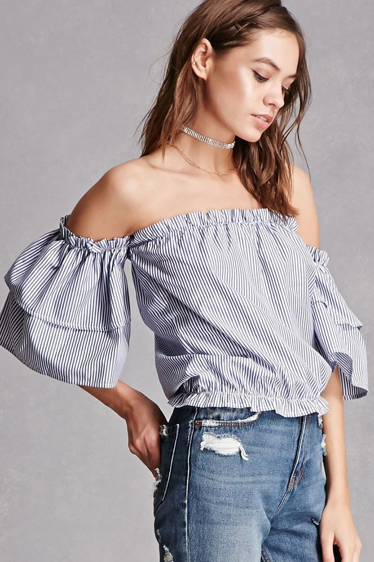 A woven top featuring an allover pinstripe pattern, an elasticized off-the-shoulder neckline with a ruffle trim, 3/4 flounce sleeves, and an elasticized hem. This is an independent brand and not a Forever 21 branded item.