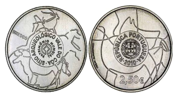 Portugal 2,50 Euro 2010 UNESCO Vale do Côa UNC KM#801 UNCIRCULATED Copper-Nickel