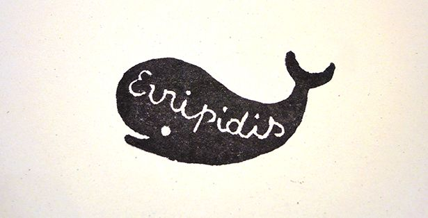Handcarved rubber stamp for Evripidis.