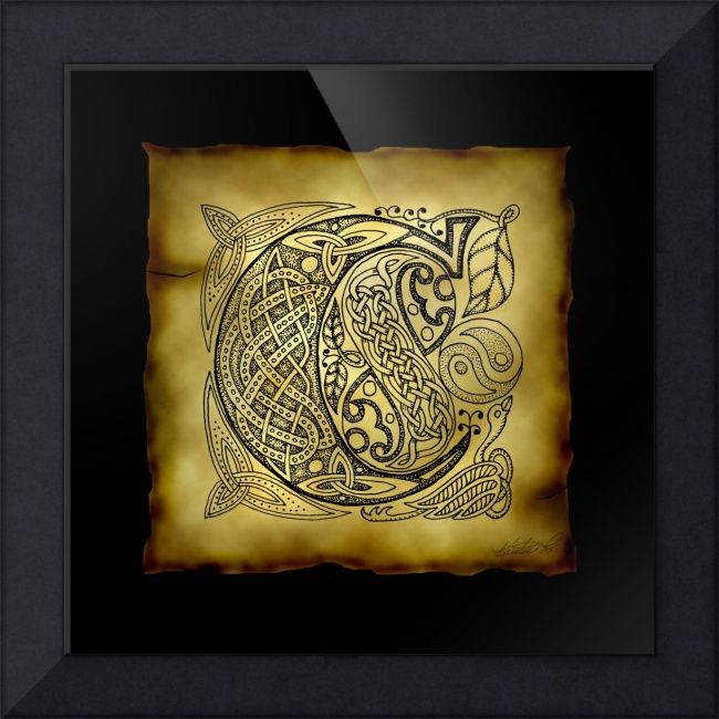 """Celtic Letter C"" by Kristen Fox, New York // An original, hand-drawn letter C from the full alphabet done in Celtic style, with intricate knotwork, spirals, and leaves, on a faux parchment background on a black field. A wonderful monogram print for first name or surname initials. // Imagekind.com -- Buy stunning fine art prints, framed prints and canvas prints directly from independent working artists and photographers."