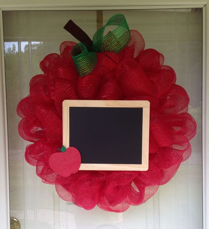 Large Apple Chalkboard Teacher Appreciation Deco Mesh Ribbon Wreath in Home & Garden, Home Décor, Door Décor | eBay