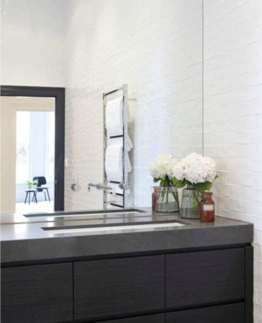 love it!! maybe with a slate floor. i like the matte subway/brick. dark counter and top. big mirror