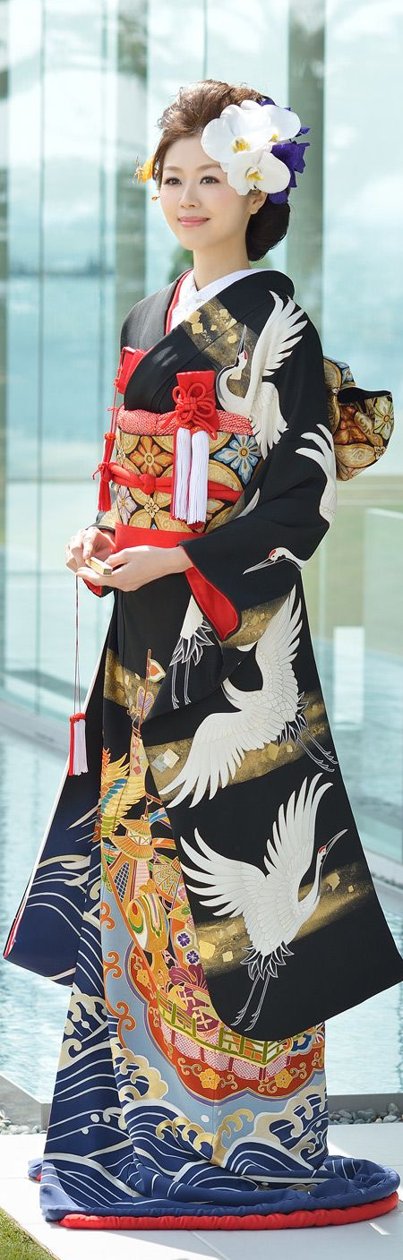 Sophisticated Flying Crane and Water Print Bridal Furisode
