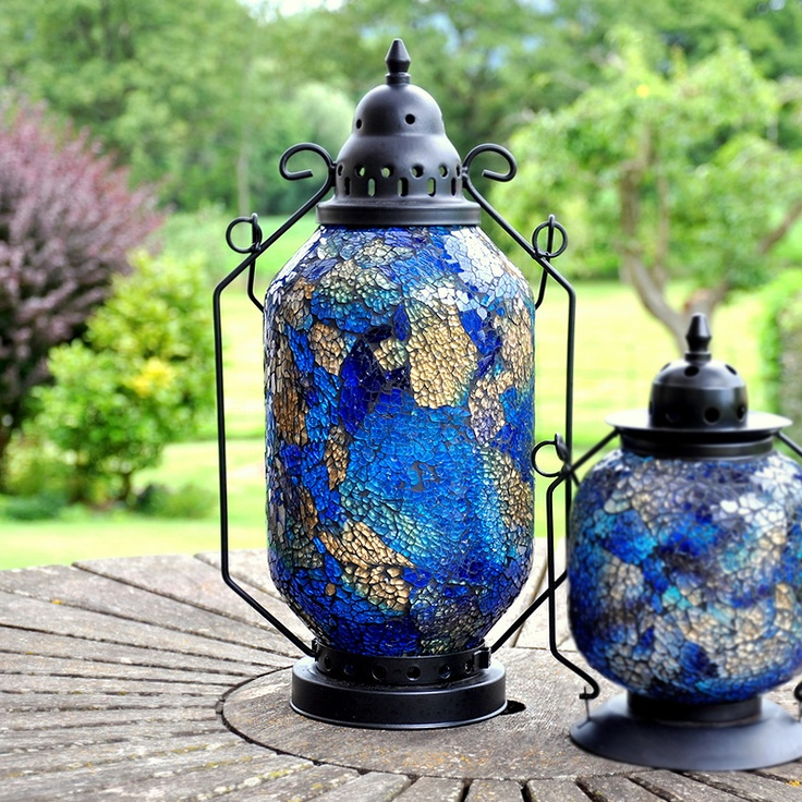 Decorative Garden Candle Lanterns In A Mosaic Moroccan Turkish Style In  Azul Blue. These Candle