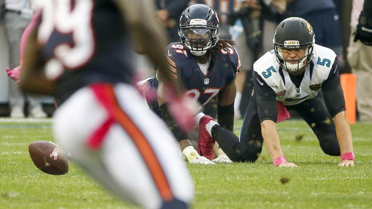Jaguars vs. Bears:    October 16, 2016  -  17-16, Jaguars  -       Willie Young knocks the ball out of Jaguars quarterback Blake Bortles' hands to force a fumble, which is recovered by the Bears, in the fourth quarter.