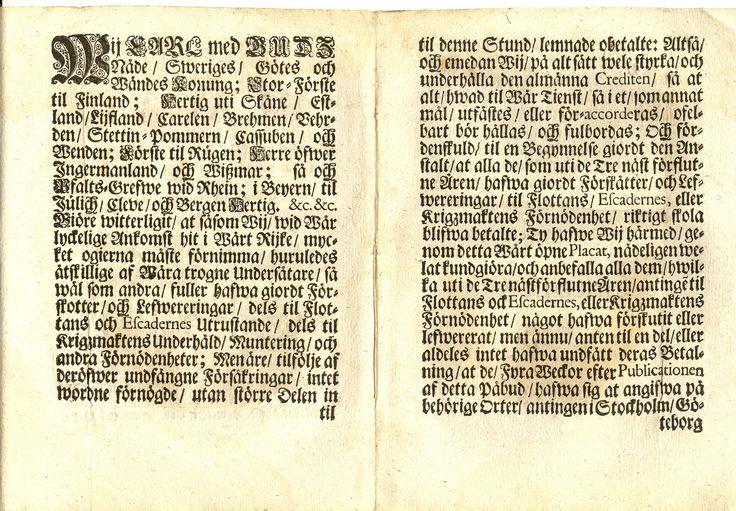 Placat gifwit Ystad den 9 Januarii 1716: Wij Carl med GUDS Nåde /Sweriges/Götes och Wändes Konung; Stor-Furste til Finland; Hertig uti Skåne/Estland/Lijfland/Carelen/Brehmen o.s.v.