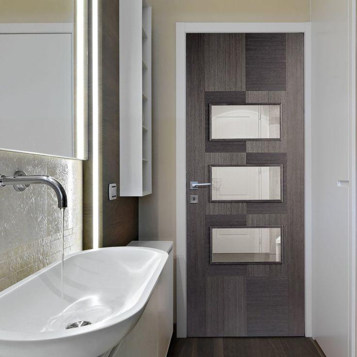 Apollo Chocolate Grey 3L Door with Clear Safety Glass. #glassdoor #internaldoor #moderndoor