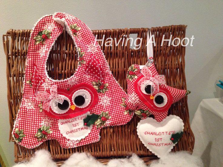 ❤️ Bespoke , Matching Christmas Hoot Bib and Hoot of Love ❤️ Personalised ❤️