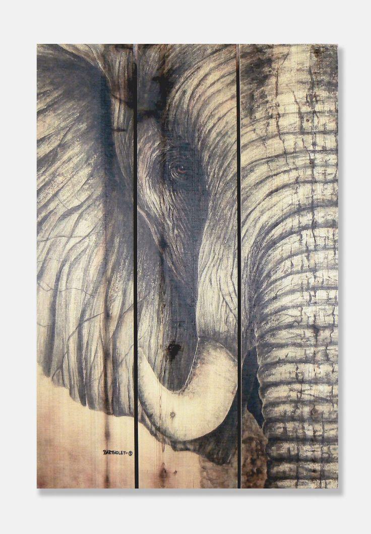 African Elephant -Cedar Wall Art