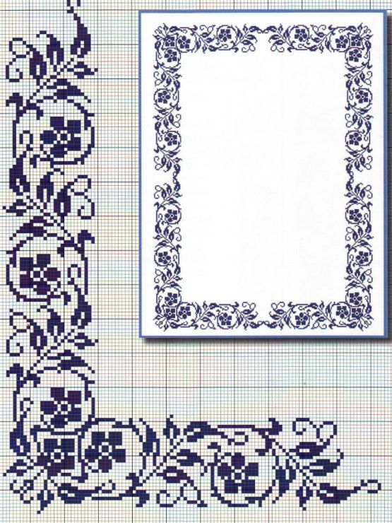 cross stitch monochrome border flowers