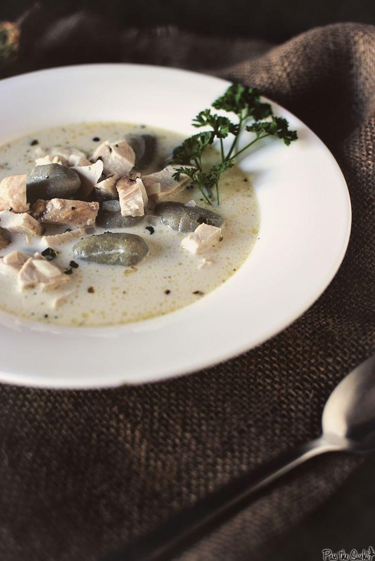 Creamy Pesto Chicken Soup with Spinach Gnocchi with Pesto Toast