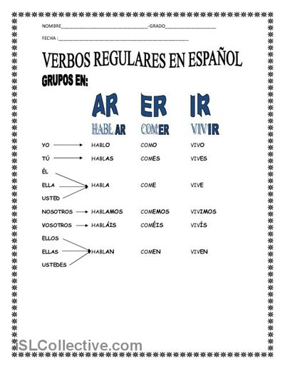 131 best Regular verbs images on Pinterest | Spanish classroom ...
