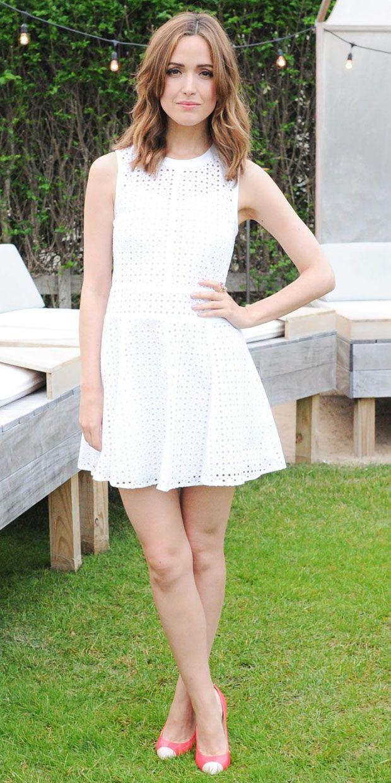 Rose Byrne in DKNY, White dress. Classy